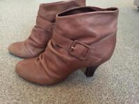 FAITH tan leather heeled ankle boots size 7