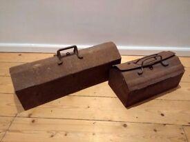 Two metal vintage toolboxes