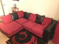 Red & Black Corner Sofa