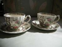 VINTAGE MYOTT INDIAN TREE CUPS & SAUCERS - STAFFORDSHIRE, ENG