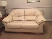 Cambria Pandora two seater cream leather sofa in excellent condition
