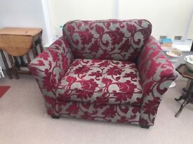 Grey and crimson large chair