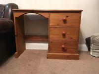 Antique pine coloured dressing table with three draws