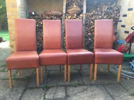Real Leather and Oak Dining room chairs x 4