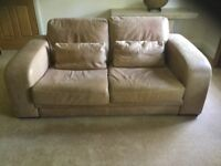 Sofas 2and3 seater. Soft brown leather. Very large and chunky. Barker and Stonehouse