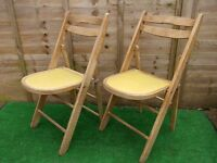 2 Retro folding wooden kitchen garden camping deck chairs