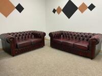 Beautiful Ex Display Saxon ox blood 🩸 chesterfield sofa