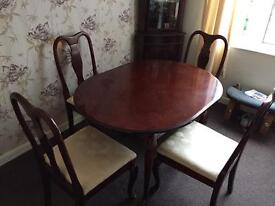 Solid wooden table and 4xchairs