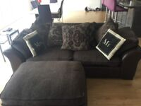 Brown fabric and leather sofa and footstool - good condition very comfy!