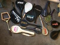 Tennis and squash rackets job lot