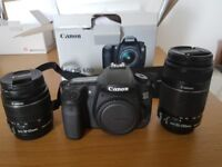 Canon EOS 60D camera with tripod and 2 kit lenses EFS 18-55mm and EFS 55-250mm