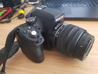 Pentax K-500 DSLR Camera with 18-55mm lens and accessories