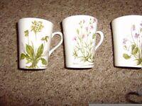 Lovely set of 3 floral design mugs by Royal Kendal,