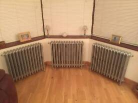 3 x Reconditioned Ideal Floor Standing 4 Column 13 Section Cast Iron Radiators