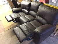 2+3 seater leather reclining sofa (can deliver)