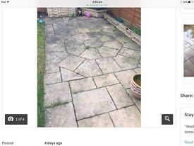DECORATIVE GARDEN PATIO AND SHAPED PATTERN SLABS.