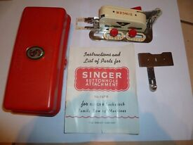 Vintage Singer Simanco Buttonhole Attachment 86718 with Instruction manual Boxed
