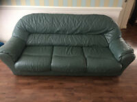 Leather Settee 3 Piece and 2 single seaters