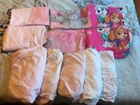 Girls toddler bedding bundle. Paw patrol & cot bed sheets