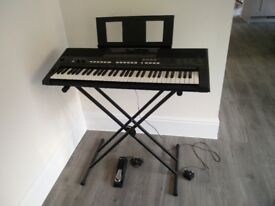 Yamaha PSR E433 Digital Keyboard - Excellent condition with stand and damper pedal