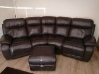Leather 4 seater sofa and rocker