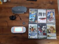 Psp white upgraded software rare with games and case two memory cards playstation portable