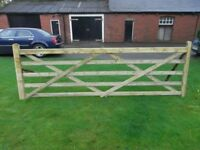 Timber field gate 5 bar planed finish 12ft