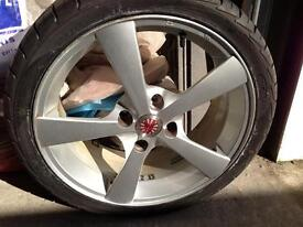 """4 used Wolfrace 'Katana' 17 inch """" alloy wheels AND great condition tyres - £150"""