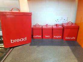 Bread bin and coffee tea sugar biscuits cannisters containers