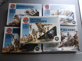 5 sets of Airfix 1980s 1/72 soldiers Series 1 - all new and boxed
