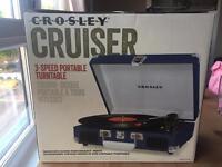 Brand new crosley cruiser 3 speed portable turntable