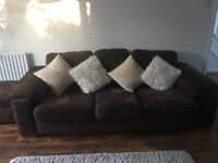Brown suede 3 & 2 seater sofas