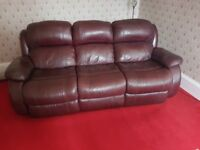 Reclining 3 seater leather sofa - great condition