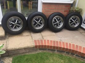 Mgb rostyle wheels with chrome trims and matching tyres