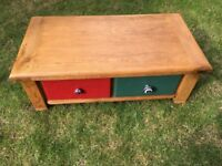 Lovely Solid Wood Coffee table with painted drawers