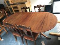 Antique dining table & 4 antique chairs sold together or separately