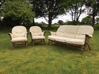 Ercol Windsor Three Piece Suite original with Cushions. Amazingly original as shown.