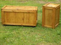 HANDMADE PINE BLANKET BOX AND SMALL BOX.