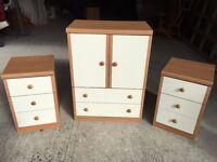Bedroom furniture - Tallboy and bedside drawers set.