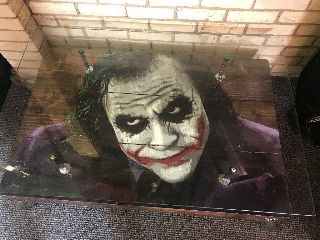 Rare Heath Ledger The Joker Batman French Oak Wood Glass Table 450 In Cookridge West Yorkshire Gumtree