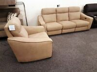 Ex Display Designer Brown Fabric Electric Recliner 3 Seater Sofa & Electric Armchair **CAN DELIVER**