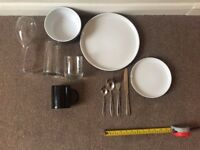 Dining Set (Plates, Bowls, Glasses, Mugs, Cutlery)