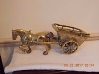 Wonderful vintage brass horse and cart, heavy.