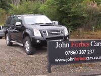 2010/10 ISUZU RODEO DENVER 2.5 TD DOUBLE CAB, BLACK WITH CANOPY FSH, IMMACULATE