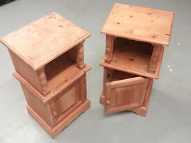 Matching pair of pine wood night stands - bed side tables