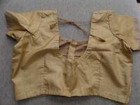 NEW Dusty Gold Varanasi Banarasi Benares 100% silk embroidered Indian Saree Sari & matching blouse