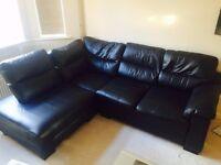 Black leather 4 seat sofa