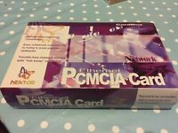 Ethernet PCMCIA Card mentor 32-bit CardBus 10/100Mbps Fast Ethernet PC card in box with instructions