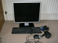 "Dell 19"" monitor, keyboard, mouse, cables"