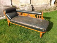 FABULOUS DISTRESSED ANTQUE LEATHER CHAISE LONGUE